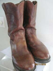 USED JUSTIN MENS 7.5D BROWN LEATHER WORK BOOTS WESTERN PULL ON ROUND TOE