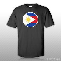 Round Filipino Flag T-shirt Tee Shirt Free Sticker Philippines Pinoy Phl