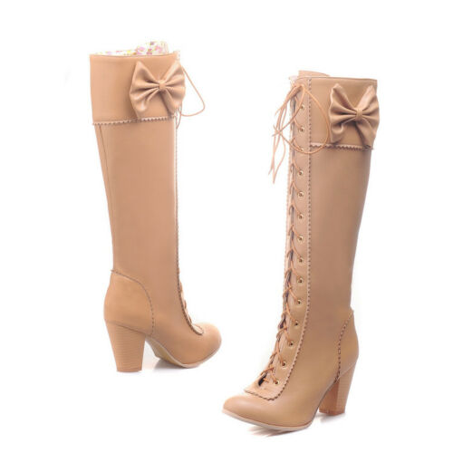 Vintage Womens Girls Princess Bowknot Knee High Boots Lolita Lace up Oxford Shoe