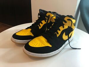 "Characterize On foot ability  Men's Nike Air Jordan 1 ""New Love"". Black and Yellow. Size 12. 
