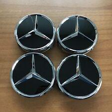 4 Mercedes-Benz Emblema Coprimozzo Coprimozzo Copriruota Orginal nero nuovo
