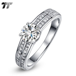 TT-RHODIUM-925-Sterling-Silver-1Ct-Main-CZ-Engagement-Wedding-Ring-RW47-NEW