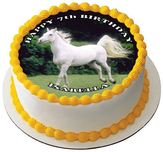 Stupendous White Horse 7 5 Premium Edible Rice Wafer Cake Topper Can Be Personalised Birthday Cards Xaembasilily Jamesorg