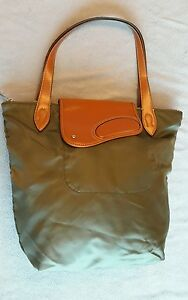 Ralph Lauren Wooten Woman army green nylon w  tan leather tote bag ... 6424c4b5ab