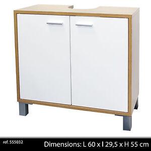 meuble sous evier lavab 2 portes salle de bain cuisine bois armoire rangement 24 ebay. Black Bedroom Furniture Sets. Home Design Ideas