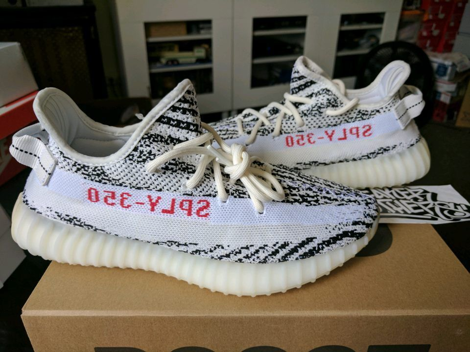 2db95885441 adidas Yeezy Boost 350 V2 Zebra White Red Black 100 Size 8 for sale ...
