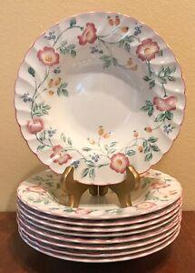 CHURCHILL-Briar-Rose-Rimmed-Soup-Bowl-s-8-3-4-034-Set-of-9-Pink-Floral-England-EUC