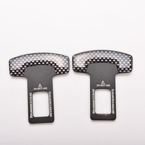 1 Paar Universal Kohlefaser Auto Sicherheitsgurt Schnalle Alarm Stopper ClaAB