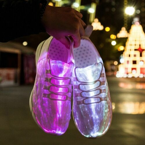 Cool Summer LED Fiber Optic Shoes For Girls Boys USB Recharge Glowing Sneakers