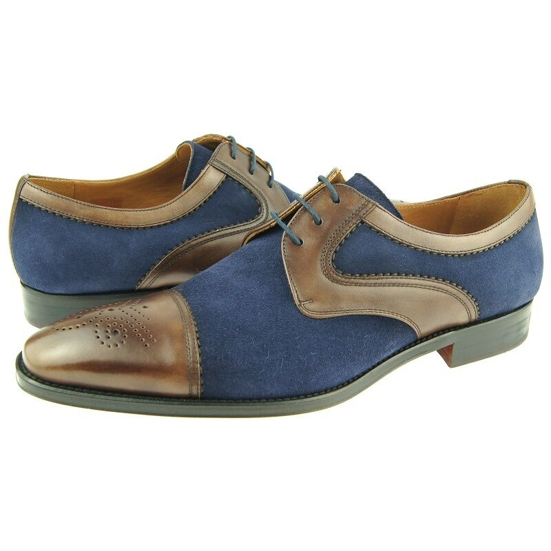 Lorens  Jose  Cap Toe Spectator Derby, Men's Dress Casual shoes, Brown Navy