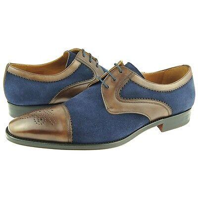 Carrucci Wingtip Spectator Oxfords Men/'s Dress Leather Shoes Brown//Navy