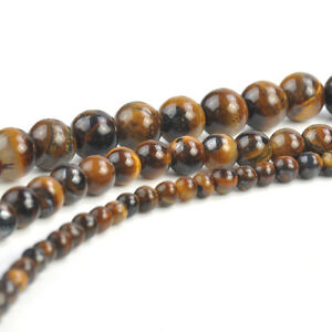 "Impartial Natural Gemstone Tiger's Eye Round Beads 4 Mm 6 Mm 8 Mm 15.5"" Bracelet Collier Nouveau-afficher Le Titre D'origine"