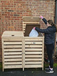 Bin Garden Double hide Wheelie Bin Store storage shed tidy outdoor dustbin cover