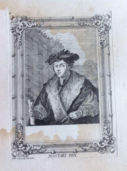 Ambicioso Retrato Mostart Aguafuerte Xviii Sec A Joseph Prenner Austria No Planchado