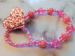 Pink blue AB Shamballa Heart Crystal Bling Baby pacifier dummy clip chain strap