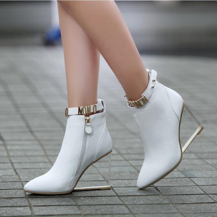 Mujer señoras de cuero cuero cuero Puntera Puntiaguda Transparente Con Tacón De Cuña Zapatos botas de cremallera lateral f31d27