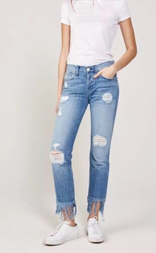 3x1 Jeans Distressed Size 26 Straight Crop Fringe