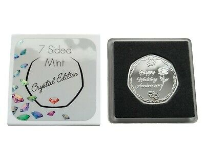 """Blue Crystal /""""Happy Birthday/"""" Silver Plated Commemorative Coin Gift Present"""