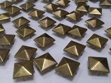CraftbuddyUS 100 x 10mm Brass Square PyramId Studs Goth Leather craft Denim