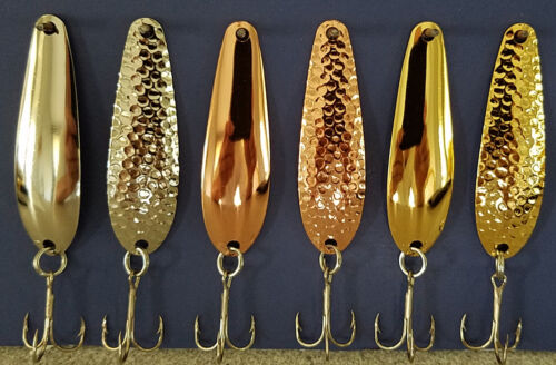 """CPR  Smooth GLD Hammered Walleye Candy 2 5//8/"""" Trolling Spoons NKL"""