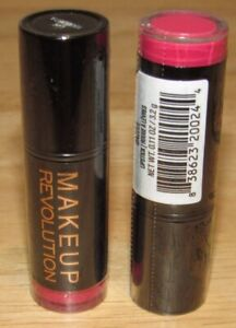 x-2-Makeup-Revolution-Lipstick-DAZZLE-0-11-Oz-Each-Full-Size-SEALED-Red-Pink