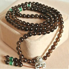 Premium Quality Smoky Quartz Buddha Prayer Beads Inner Peace Bracelet