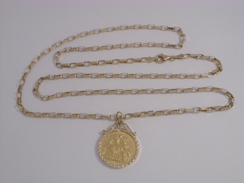 9ct gold Full Sovereign Pendant On 30  Diamond Cut Belcher 21.6gm Secondhand