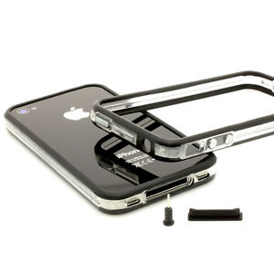 iPhone-4-4S-TPU-Bumper-Silikon-schwarz-Set-Case-Schutz-Huelle-Cover-Tasche