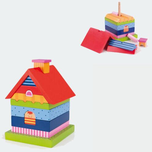 Holzspielzeug VILLA STECKFIGUR bunt Stapelfigur Haus für Kinder Holz Stapelsteine Baustein NEU