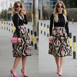 US Sexy Women Retro Floral High Waist Pleated Party A-Line Skater ...