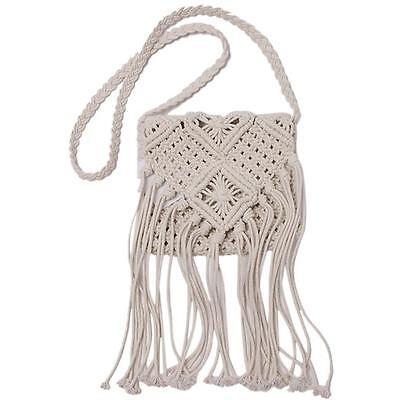 Chic Women Crochet Knit Handbag Shoulder Bag Beach Bohemian Boho Tassel Bags ONE
