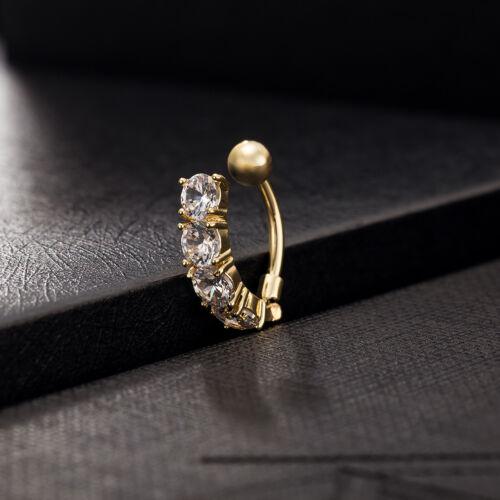 Barra Ombligo del vientre cristal Body Piercing Ombligo Anillo Danza Circón Chapado en Oro