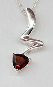 Edler-0-45-Carat-Granat-Anhaenger-925-Silber-blutroter-Edelstein-Collier-Kette