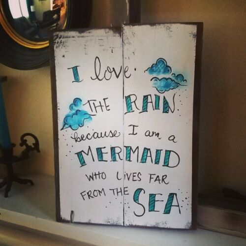 Mermaid Who Loves The Rain Reclaimed Wood Pallet Sign