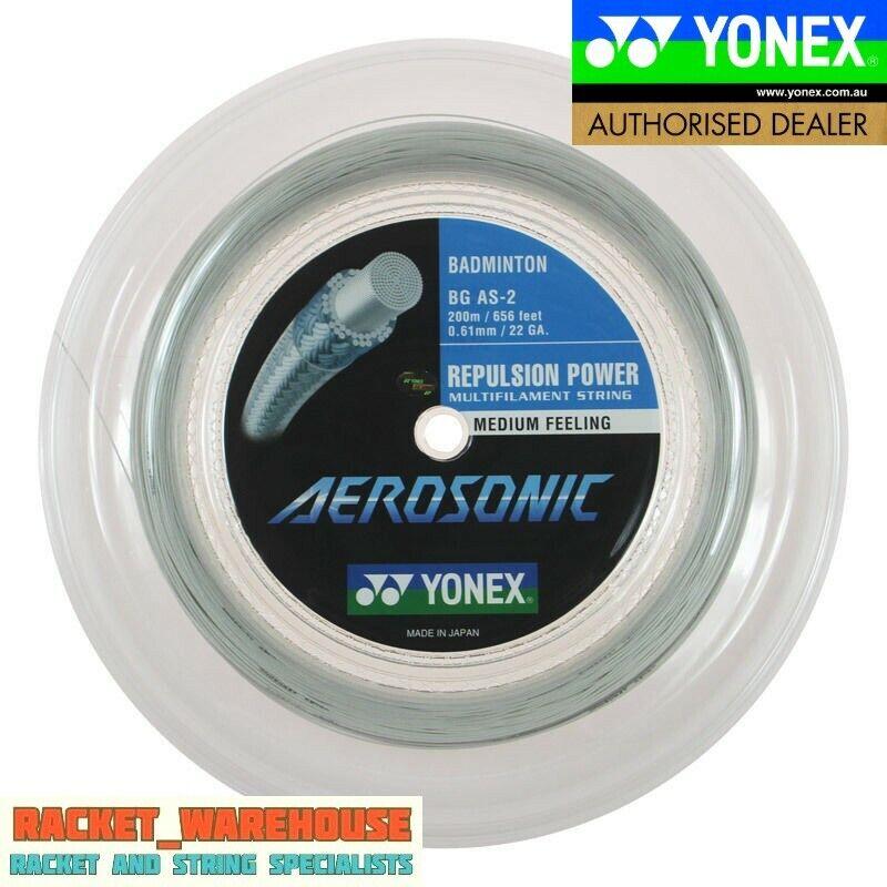 NEW 200m REEL YONEX AEROSONIC BADMINTON RACKET STRING Weiß  BG-AS .61mm
