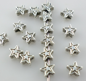 50 Star Spacer Beads 4mm Star Findings Metal Antique Silver