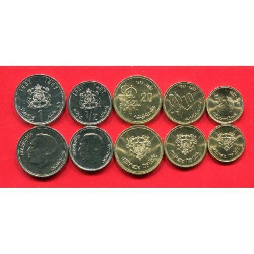 10 MOROCCO 5 20 SANTIMAT 1//2 1 DIRHAM 1987 UNC COIN SET OF 5