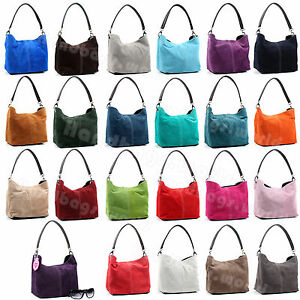 Italian-Real-Suede-Leather-Shoulder-Handbag-Ladies-Tote-Weekend-Bag