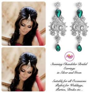 Indian-Bollywood-Silver-Crystal-Dangle-Chandelier-Earrings-Bridal-silver-green
