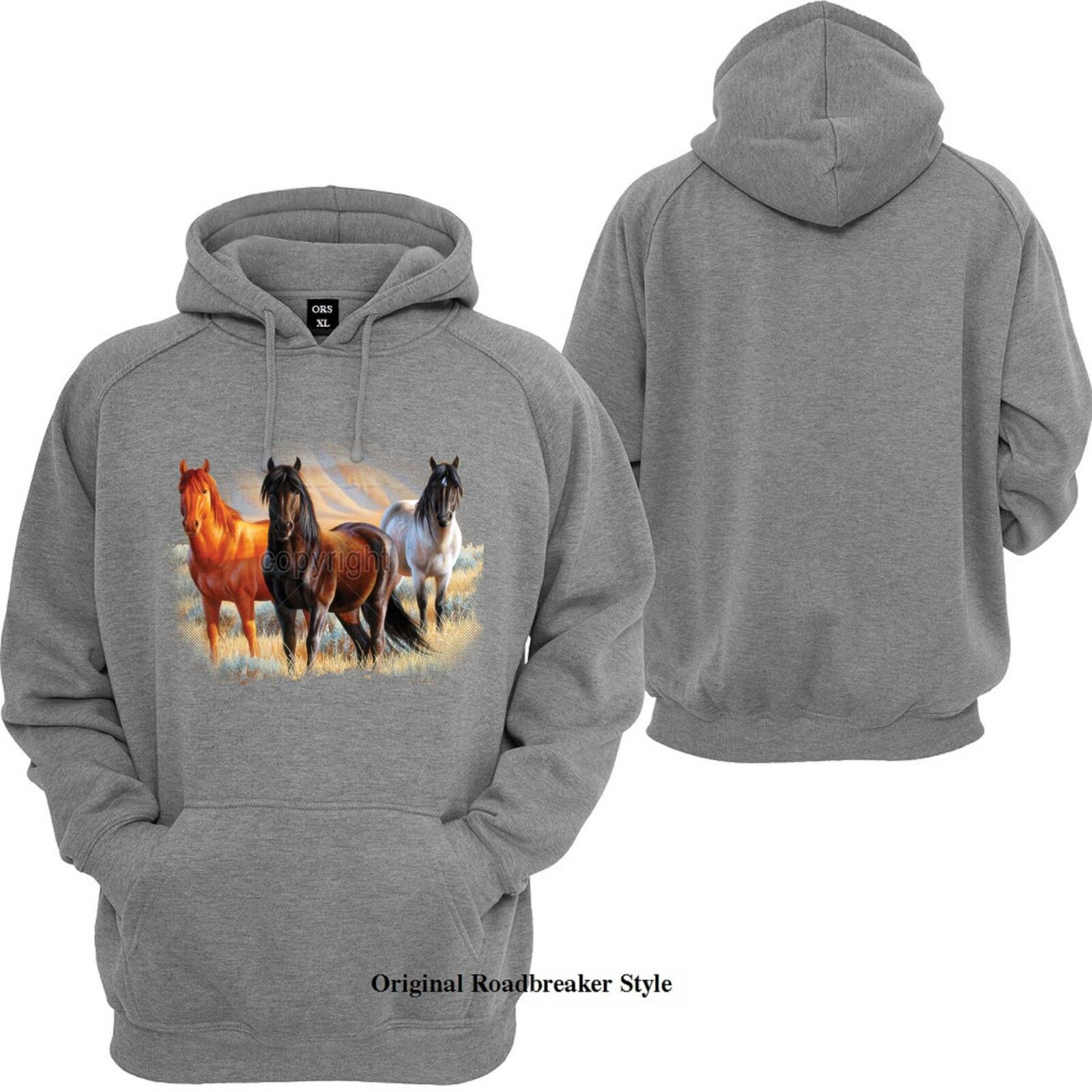 Hoodie   Hoody Grey with Horse Animal- & Nature Motif Model 3 Mustangs