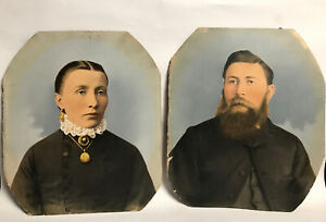 Antique-Part-Painting-On-Print-Photo-Of-A-Woman-And-Bearded-Man