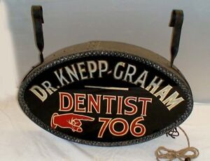 OLD 1910 - 20's Dentist glass sign pre-porcelain neon