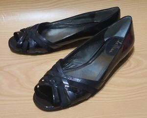 COLE-HAAN-WOMENS-OPEN-TOE-FLATS-7-5-B-BLACK-PATENT-LEATHER-SHOES