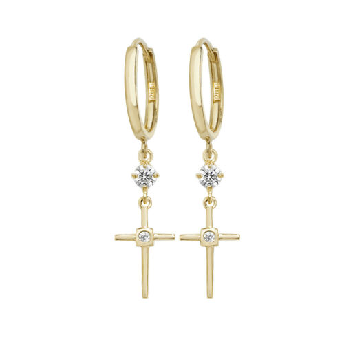 Contemporary 9ct Gold Cross Drop Earrings with Cubic Zirconia//CZ 35mm*8mm