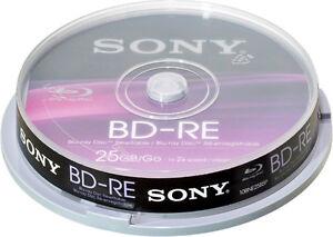 10-Sony-Blu-ray-BD-RE-25Gb-1-2x-Rohlinge-Spindel-Wiederbeschreibbar