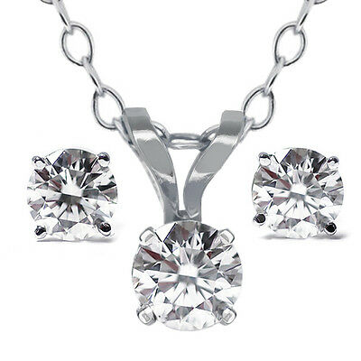 """14K White Gold 0.65 Ct Diamond Pendant and Earring Set with 18"""" Chain"""