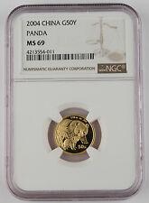 "2004 China 50 Yuan 1/10 Troy Oz 999 Gold Panda Coin NGC MS69 GEM ""Better Date"""