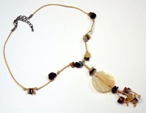 Tonos Naturales//Beige anudada cadena con Shell Necklace CJN539
