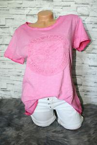 Italy-T-Shirt-Vintage-Gr-36-38-40-42-Shirt-Puder-pink-blogger-3D-Print-NEU