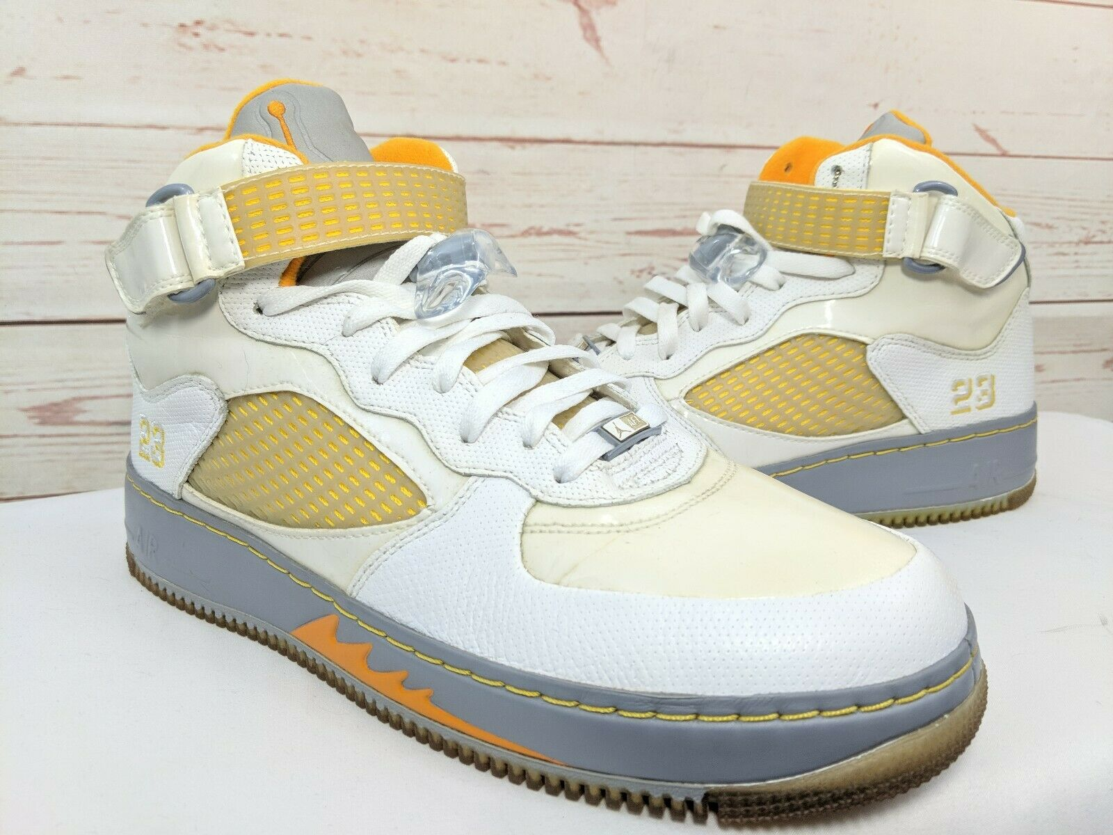 Nike Air Jordan Fusion Mens Size US 12 White orange shoes 318608-181